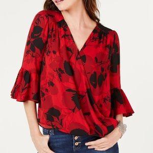 "INC ""shadowed mums"" red/black floral print dress"